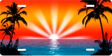 Orange and Red Palm Sunrise Scenic Auto Plate sku T2025DV