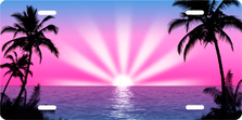 Pink and Purple Palm Sunrise Scenic Auto Plate sku T2025GV
