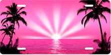 Pink Palm Sunrise Scenic Auto Plate sku T2025RV