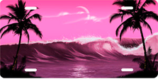 Pink Wave Palms Scenic Auto Plate sku T2102R