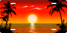 Red and Yellow Palm Sunset Scenic Auto Plate sku T2025AS