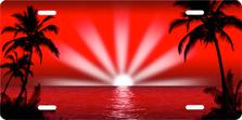 Red Palm Sunrise Scenic Auto Plate sku 2025AV