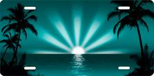 Teal Palm Sunrise Scenic Auto Plate sku T2025TLV