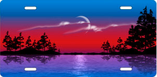 red and Blue Lake Scenic Auto Plate sku T2000B