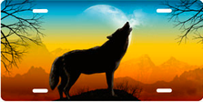 Howling Wolf on Full Color Auto Plate sku T9165D