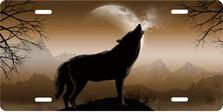 Howling Wolf on Mocha Auto Plate sku T9165MO