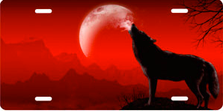 Howling Wolf on Red Offset Auto Plate sku T9166A