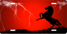 Lightning Horse on Red Offset Auto Plate sku T9121A