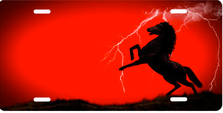 Lightning Horse on Red Ringer Auto Plate sku T9121A