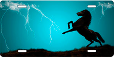 Lightning Horse on Teal Offset Auto Plate sku T9121TL