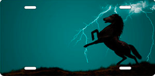 Lightning Horse on teal Ringer Offset Auto Plate sku T9122TL
