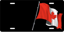 Canadian Flag on Black Offset Auto Plate sku T2955Z