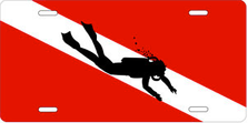 Diver Silhouette on Dive Flag Auto Plate sku T9446A