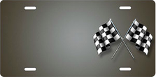 Checkered Flags on Gray Offset Auto Plate sku T2732C