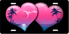 Pink Palm Hearts on Black Brushed Metal Auto Plate sku TB2670G