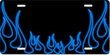 Blue Neon Vlassic Flames Auto Plate sku T2741B