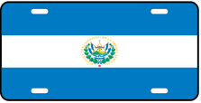 El Salvador World Flag Auto Plate
