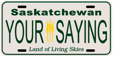 *Make Your Own* Saskatchewan Prov Plate