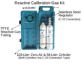 GASCO Chlorine 50 PPM Balance Air Calibration Gas Kit Includes: 58 Liter Cylinder of Chlorine, 103 Liter Cylinder of Zero Air, Stainless Steel Regulator, PTFE Teflon Reactive Tubing, and Hard Case