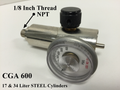 "Threaded 1/8"" NPT threaded outlet 71-Series Regulator For 17&34 Steel Cylinders CGA 600 Connection"