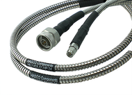 SMA Male to N Male Test Cable using HLL142A Low Loss Flexible Armored Cable, Phase Stable vs. Temperature, 12 Inches