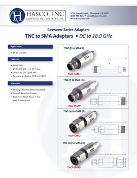 TNCJ-SMAJ Datasheet for HASCO TNC Female to SMA Female Adapter - 18 GHz