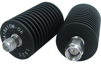 HA18A10W-15 Main view for 15 dB - Fixed Attenuator SMA Male To SMA Female Up To 18 GHz Rated To 10 Watts With Black Aluminum Heat Sink Body
