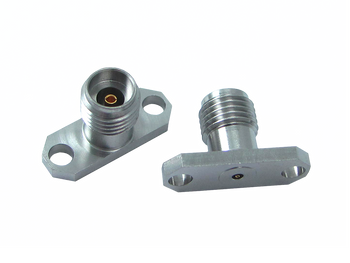 """Main Image - 2.92mm Female Connector 2 Hole .625"""" Long Flange - Accepts .012 Pin Dia. 