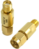 6 dB - Fixed Attenuator SMA Male To SMA Female Up To 3 GHz Rated To 2 Watts With Gold Plated Brass Body