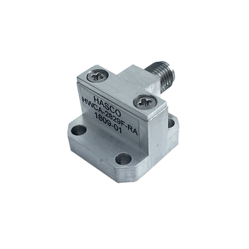 Image:  WR-28 to 2.92mm Female Waveguide to Coax Adapter, Right Angle Design, 26.5 GHz to 40 GHz, 599/U Flange (HWCA-2829F-RA)