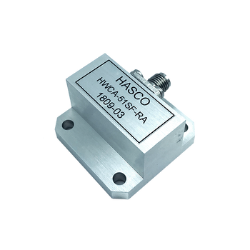 Image: WR-51 to SMA Female Waveguide to Coax Adapter, Right Angle Design, 15 GHz to 22 GHz, WR51F Flange (HWCA-51SF-RA)