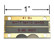 """B4003-8M-27 main view for Southwest Microwave .008"""" RO4003, Microstrip Test Board up to 27 GHz"""