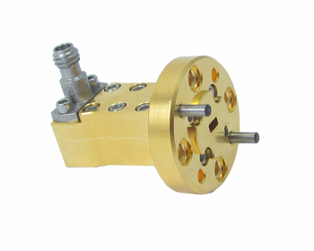 Main Image - WR-10 to 1.0mm Female Precision Waveguide to Coax Adapter, Right Angle Design, 75 GHz to 110 GHz, UG387/UM Flange