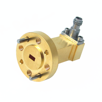 Main Image - WR-10 to 1.0mm Female Waveguide to Coax Adapter, Right Angle Design, 75 GHz to 110 GHz, UG387/UM Flange