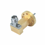 Main Image - WR-15 to 1.85mm Female Waveguide to Coax Adapter, Right Angle Design, 50 GHz to 67 GHz, UG385/U Flange