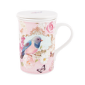 3 piece Infuser Set -Fine China with ceramic Infuser  A beautiful decorative vintage collection of pretty bluebirds, roses and butterflies. Tassels, satin ribbon and bows blue beads and jewels adorn the product and packaging.