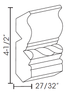 """Cherry Glaze Crown Molding 4 1/2""""H with Rope Inlay"""