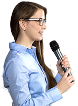 Conference woman attending meeting and asking a question with wireless mic