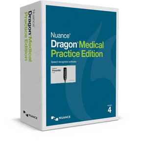 Dragon Medical Practice Edition 4 with Nuance PowerMic III box.