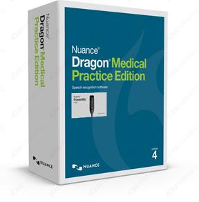 Dragon Medical Practice Edition 4 with Nuance PowerMic III box.