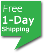 Green angular text bubble with the words Free 1-day shipping.