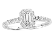 1/3 ct Emerald Cut Diamond Engagement Ring  in 14KT White gold (.52ctw)