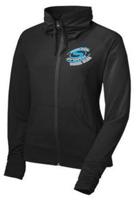 S10L - LADIES PERFORMANCE FULL ZIP JACKET BLACK WITH UNIQUE COLLAR AND SLEEVE with Embroidered Left Chest Storm Logo