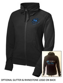 S09L - LADIES PERFORMANCE FULL ZIP JACKET BLACK WITH UNIQUE COLLAR AND SLEEVE with Glitter and Rhinestone Left Chest Logo