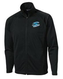 S11U -UNISEX (ADULT & YOUTH) TRICOT TRACK JACKET BLACK WITH EMBROIDERED LEFT CHEST STORM LOGO