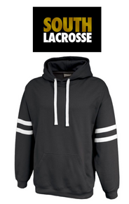LSLAXSUMLB - BLACK  Fleece Hooded Sweatshirt with Metallic Shimmer Gold & White Full Front Logo