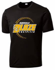 BSB01A - BLACK Performance Short Sleeve Unisex Fit Shirt with 3 Color Screen Printed BLAZE Fastpitch Logo