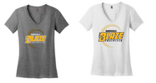 BFP08 - Women's District ® Perfect Fit V-Neck Short Sleeve Tee Shirt with 3 Color Screen Printed BLAZE Fastpitch Logo