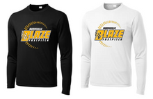 BFP05LS - (YOUTH & ADULT)  Sport-Tek®  Unisex Performance Long Sleeve Tee Shirt with 3 Color Screen Printed BLAZE Fastpitch Logo