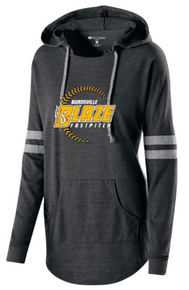BSB01E - HOLLOWAY VINTAGE BLACK Ladies Hooded Pullover Shirt with 3 Color Screen Printed BLAZE Fastpitch Logo